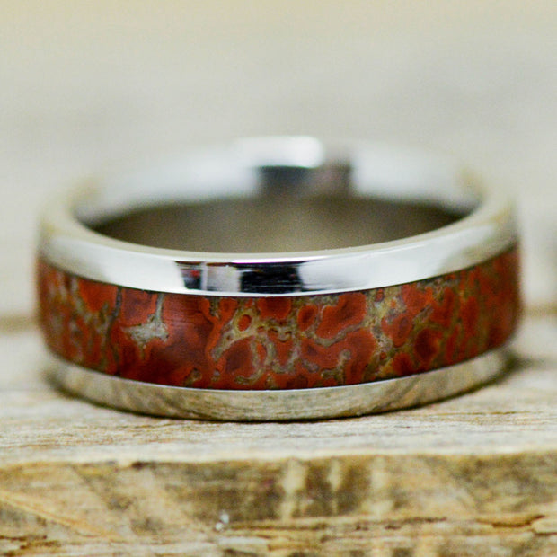 Fossilized Red Dinosaur Bone Channel Ring