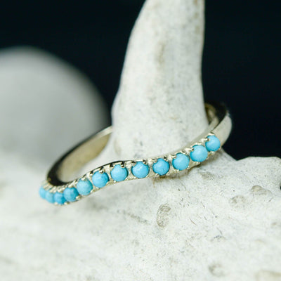 White Gold Turquoise Stacking Band