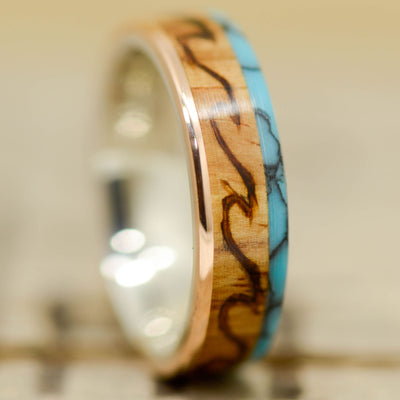 Turquoise, Rosewood, & Rose Gold with Engraved Ocean Waves