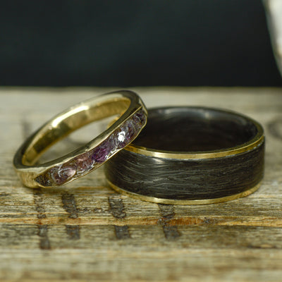 Forged Carbon Fiber, Yellow Gold, and Raw Amethyst