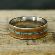 Koa Wood & Turquoise in Tungsten or Ceramic Channel