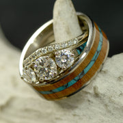 Turquoise, Koa Wood, & Moissanite Engagement Ring