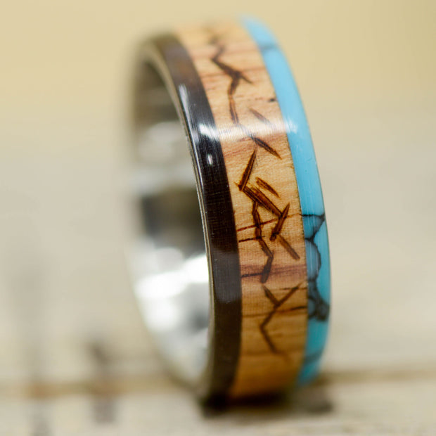 Buffalo Tusk, Rosewood, Turquoise with Engraved Mountains