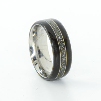 SALE RING -  Titanium, Blackwood, Meteorite, Guitar Strings - Size 9