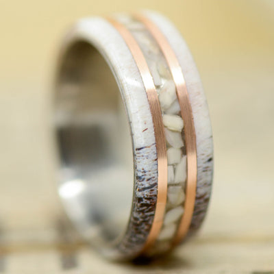 Antler, Crushed Elk Ivory, & Rose Gold Pinstripes