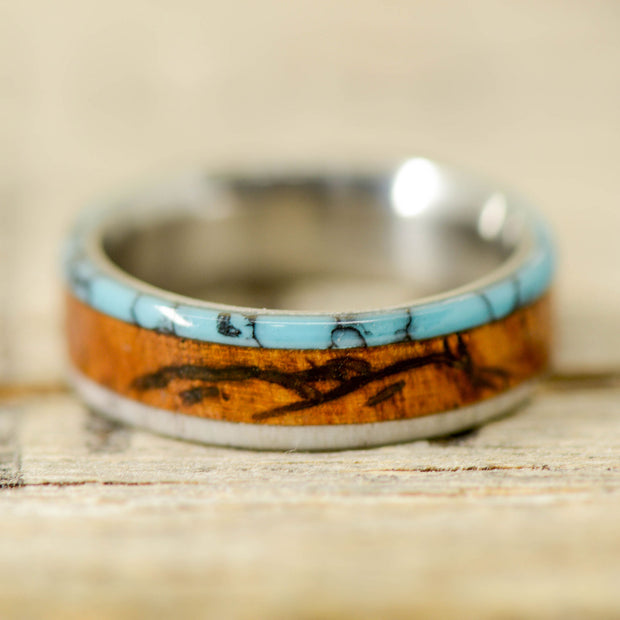 Rosewood, Antler, & Turquoise with Engraved Mountains