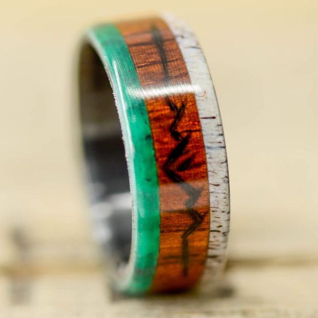 Rosewood, Jade, & Antler  with Engraved Mountains