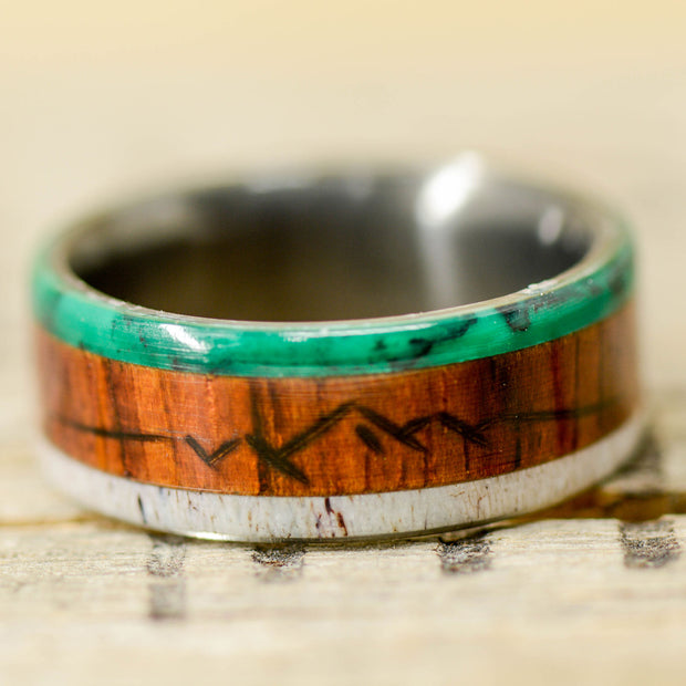 Rosewood, Imperial Jade, & Antler with Engraved Mountains