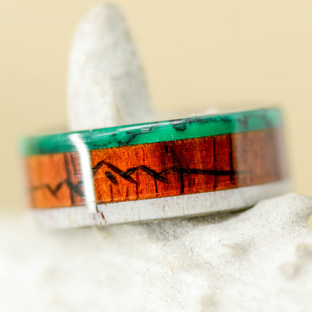 SALE RING - Rosewood, Jade, & Antler with Engraved Mountains - Size 6