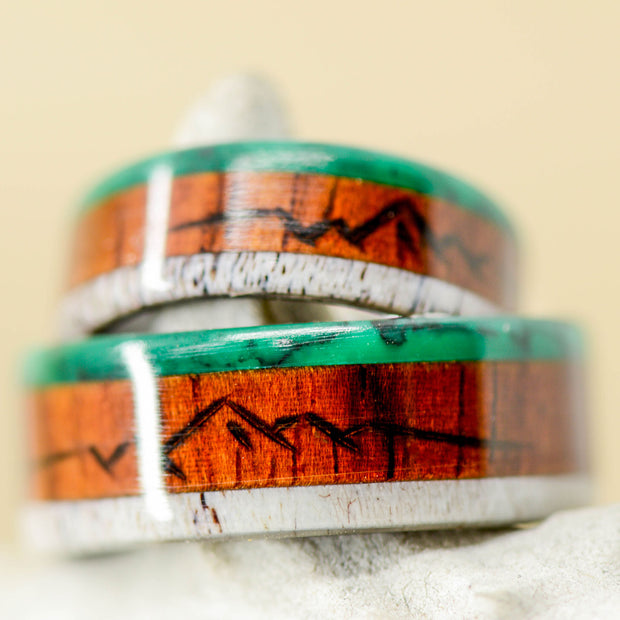 Rosewood, Antler, & Imperial Jade with Engraved Mountains