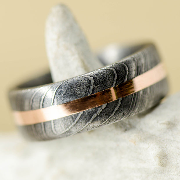 Damascus Steel & Rose Gold