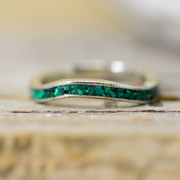 Gold with Malachite Inlay & Milgrain Edges