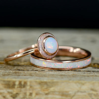 White Opal Halo Ring with Stacking Band