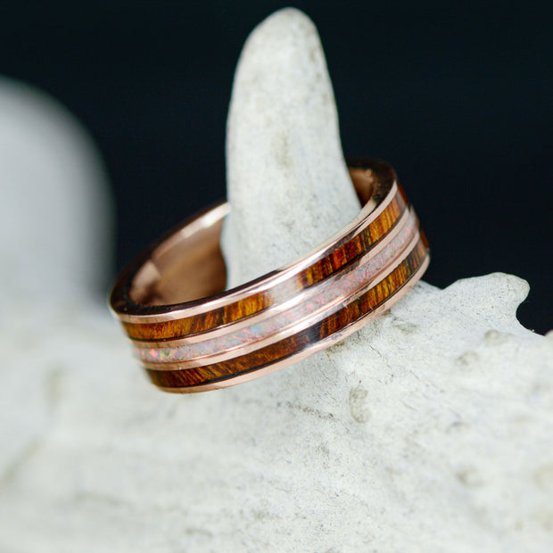 Rose Gold, Desert Ironwood, & White Opal