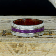 Elk Antler, Purple Sugilite, & Metal Pinstripes with Koa Wood Inside ***