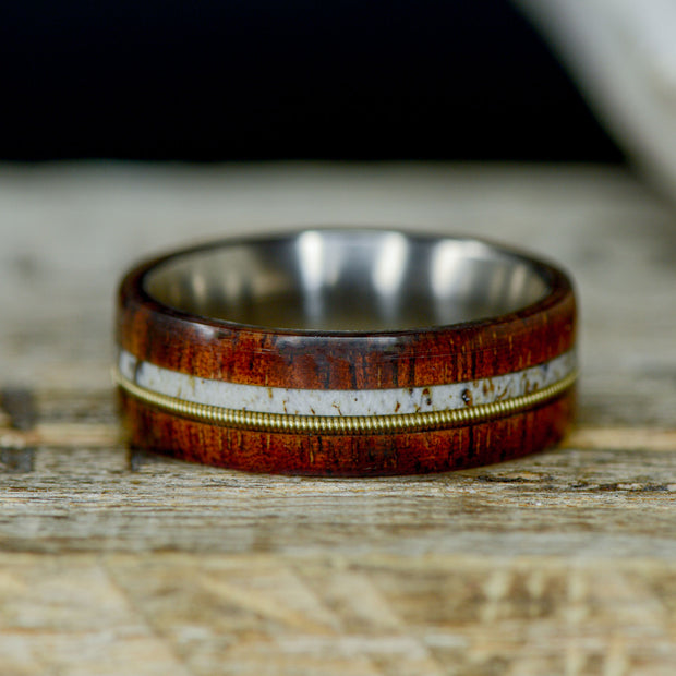 Koa Wood, Antler, & Brass Guitar String ***