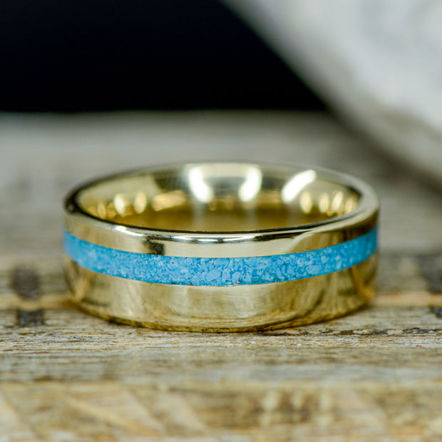 Gold with and Offset Turquoise