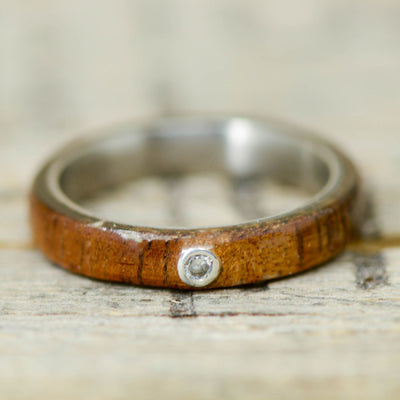 Koa Wood & Bezel Set Diamond