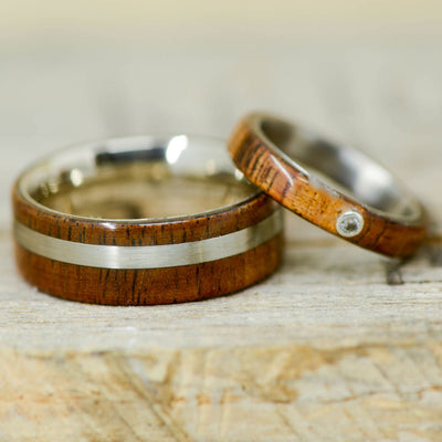 Koa Wood, Bezel Set Diamond, & Metal