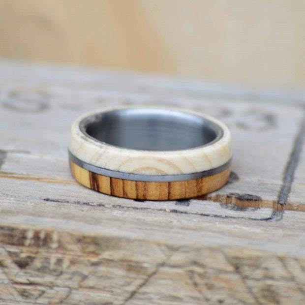SALE RING - Olivewood, Metal, & Pine - Size 8