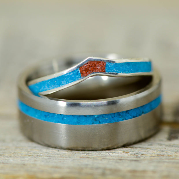 Turquoise & Red Opal with V-Ring