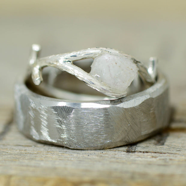 Rough Cut Metal & Crushed Moonstone Ring