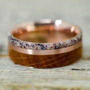 Jack Daniels Barrel Wood, Rose Gold, & Antler 8mm