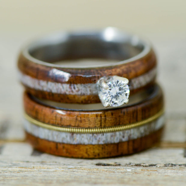 Diamond, Koa Wood, Antler, & Guitar String