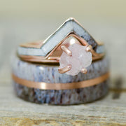 Antler, Rose Gold, Rough Quartz, & Gold V-Ring