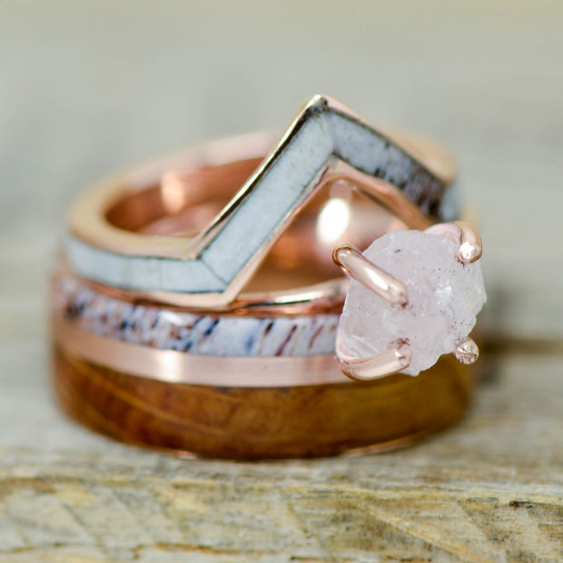 Antler, Rose Gold, Jack Daniels Barrel Wood, Gold V-Ring, & Crushed Quartz Ring