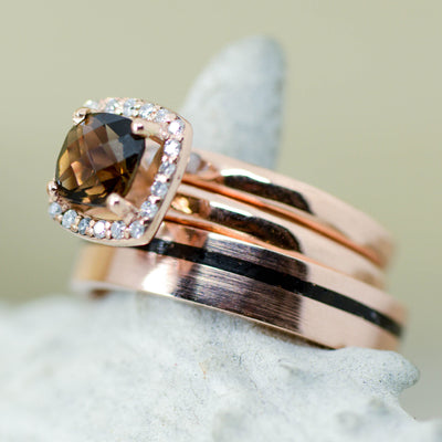 Black Stone, Rose Gold, & Smokey Quartz Halo Ring
