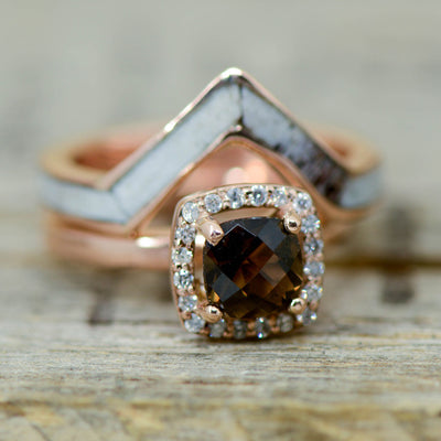 Smokey Quartz Halo Ring with Diamonds, Gold, & Antler V-Ring