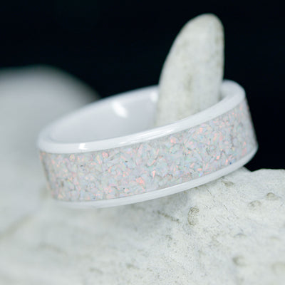 White Opal in Tungsten or Ceramic Channel ***