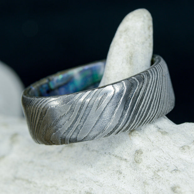 Abalone Shell Inside Band with Damascus Steel ***