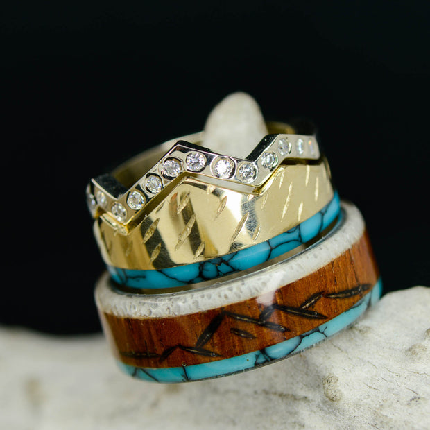 Turquoise Engraved Mountains Stone Forge Studios Women/'s Ring: Rosewood Antler