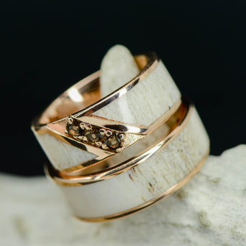Rose Gold Antler Channel Ring with Smokey Quartz Settings