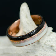 Black Buffalo Tusk, Rose Gold, White Opal, & Antler ***
