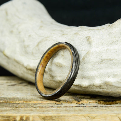 Forged Carbon Fiber Ring with Jack Daniels Barrel Wood Sleeve