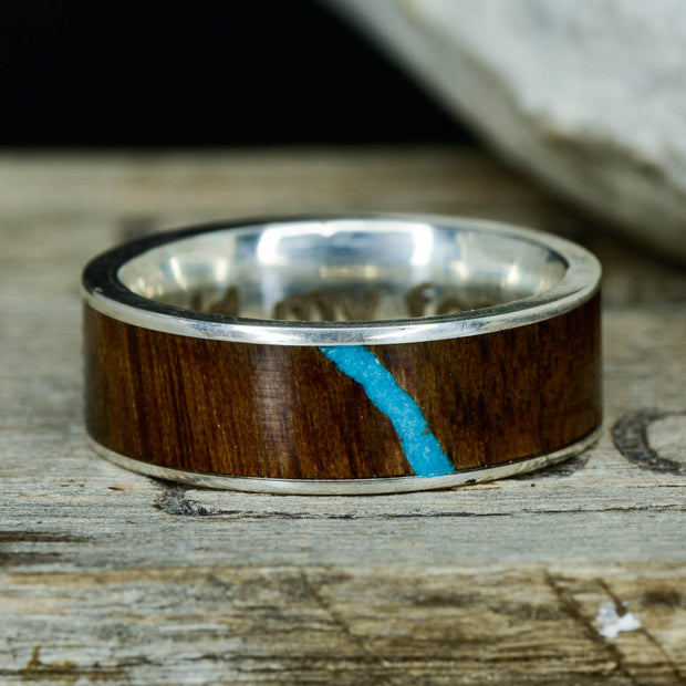 Walnut Wood & Turquoise in Tungsten or Ceramic Channel ***