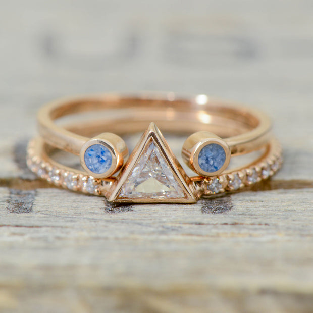 Rose Gold and Triangle Diamond with Aquamarine Split Stacking Band