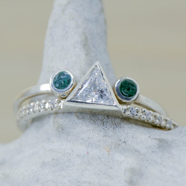 Triangle Diamond Ring with Malachite Split Stacking Band