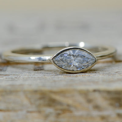 Marquise Diamond Bezel Setting in White Gold