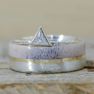 Brushed Metal, Yellow Gold, Antler, & Triangle Diamond