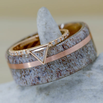 Jack Daniels Wood, Rose Gold, Antler, & Triangle Diamond