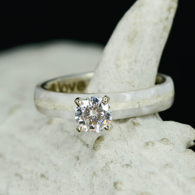 Mother of Pearl, Limestone, & Round Moissanite