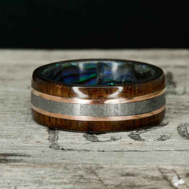 Etched Meteorite, Walnut, Rose Gold, & Abalone Shell Sleeve