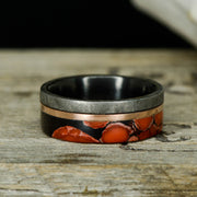 Etched Gibeon Meteorite, Rose Gold, & Dinosaur Bone