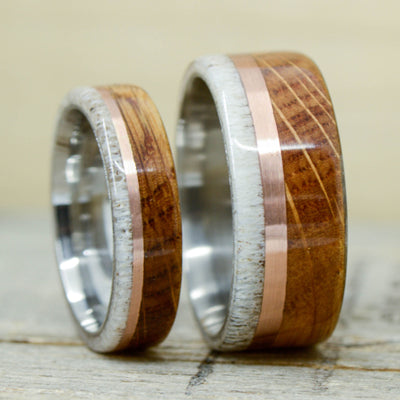 Antler, Rose Gold, & Jack Daniels Barrel Wood 10mm & 6mm