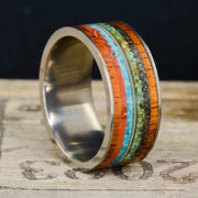 Koa wood, Dinosaur Bone, Blue & Green Turquoise, Guitar String, & Meteorite ***
