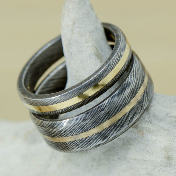 Damascus Steel & Yellow Gold